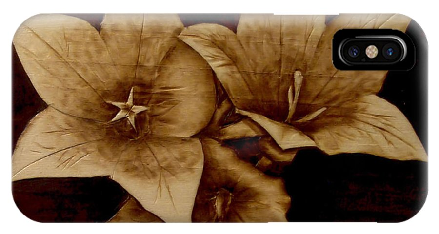 Pyrography; Woodburning; Sepia; Flowers; Petals; IPhone X Case featuring the pyrography Three by Jo Schwartz