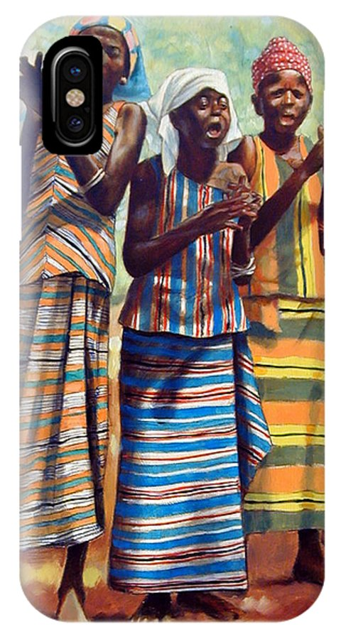 3 African Girls IPhone X Case featuring the painting Three Joyful Girls by John Lautermilch