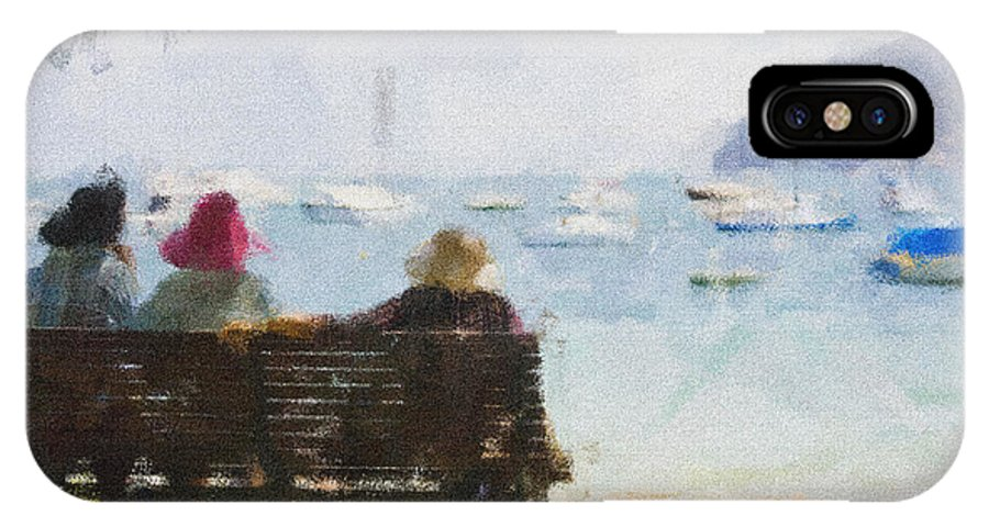 Impressionism Impressionist Water Boats Three Ladies Seat IPhone X Case featuring the photograph Three ladies by Sheila Smart Fine Art Photography