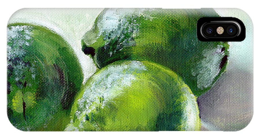Food IPhone Case featuring the painting Three Limes by Sarah Lynch