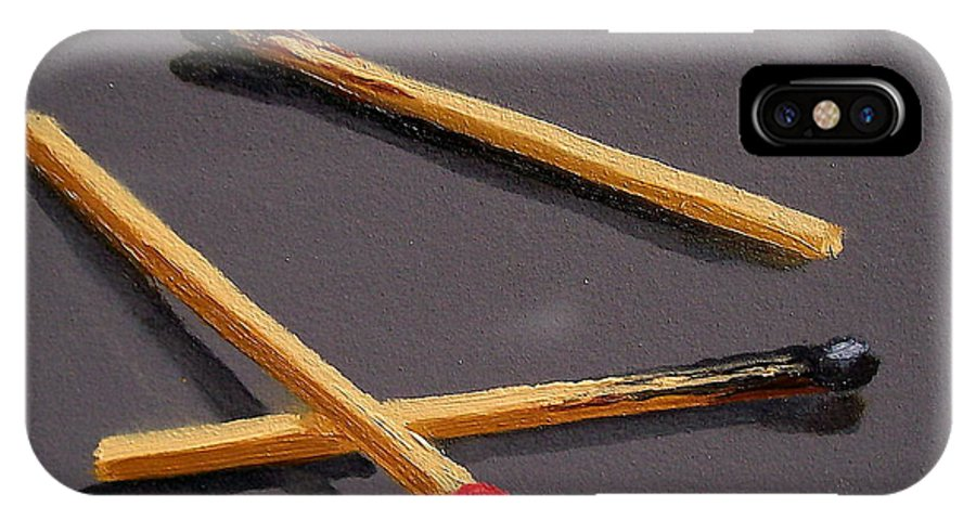 Still Life IPhone X Case featuring the painting Three Matches by Joyce Geleynse