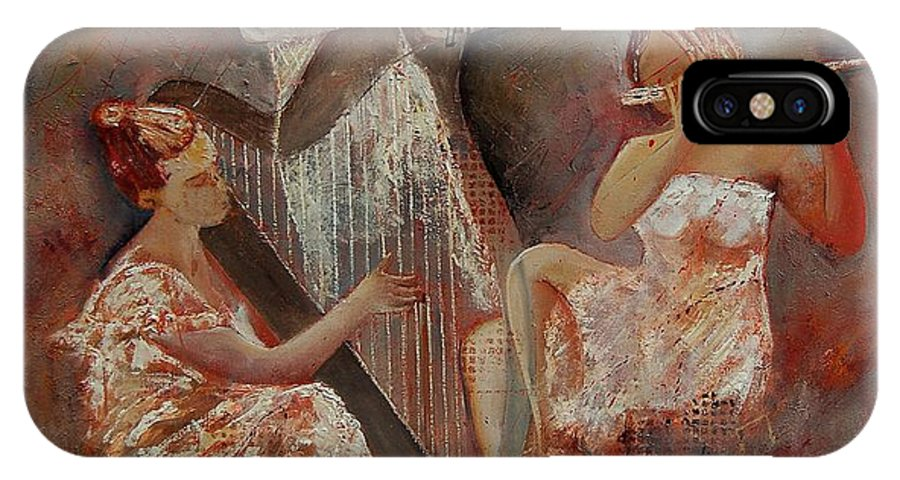 Music IPhone X Case featuring the painting Three Musicians by Pol Ledent