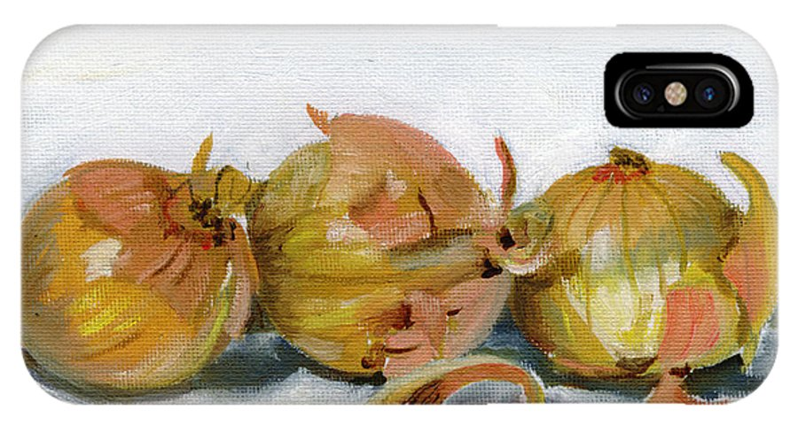 Food IPhone X Case featuring the painting Three Onions by Sarah Lynch