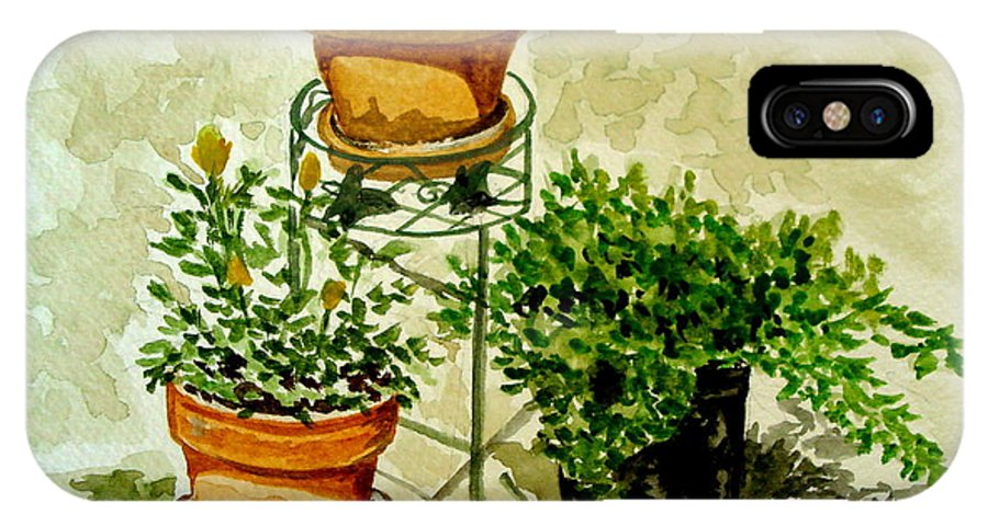Plants IPhone X Case featuring the painting Three Potted Plants by Elizabeth Robinette Tyndall