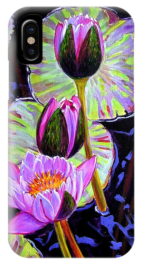 Water Lilies IPhone X Case featuring the painting Three Purple Lilies by John Lautermilch