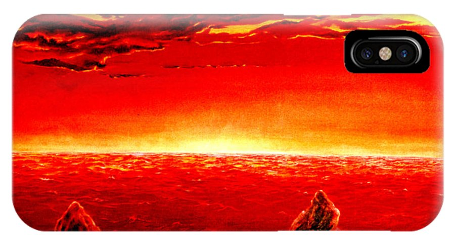 Seascape IPhone Case featuring the painting Three Rocks In Sunset by Mark Cawood