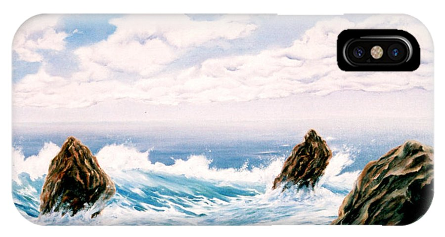 Seascape IPhone Case featuring the painting Three Rocks by Mark Cawood