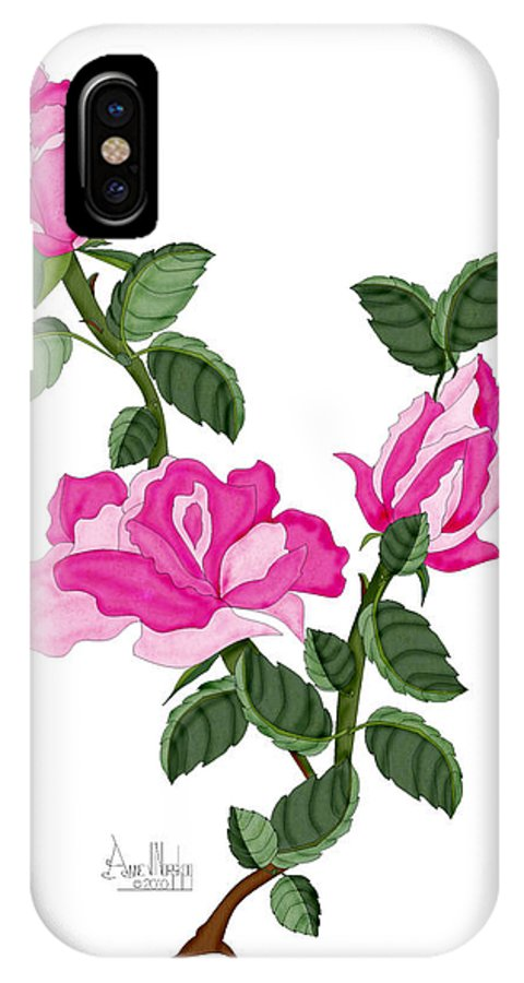 Roses IPhone X Case featuring the painting Three Roses In The Garden by Anne Norskog
