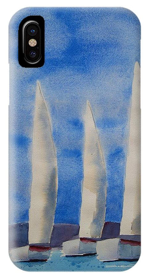 Boat IPhone Case featuring the painting Three Sails by Patricia Caldwell