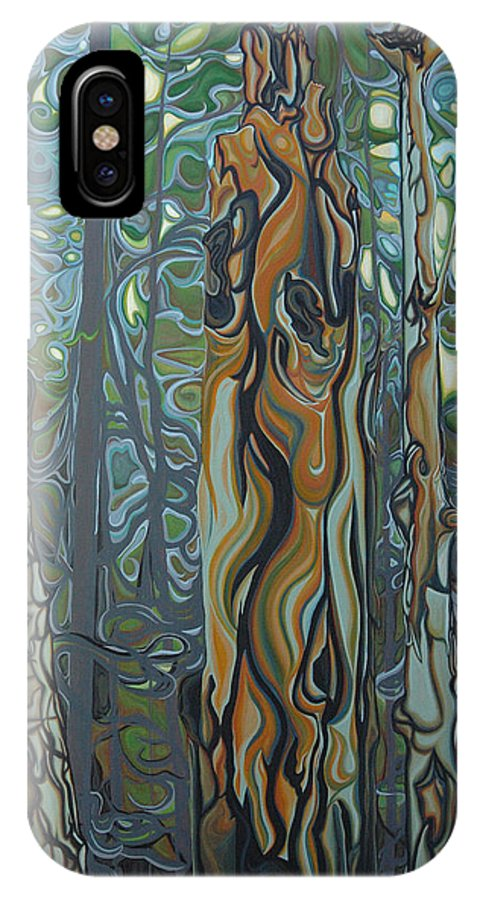 Landscape IPhone X Case featuring the painting Three Sisters by Jan Lyons