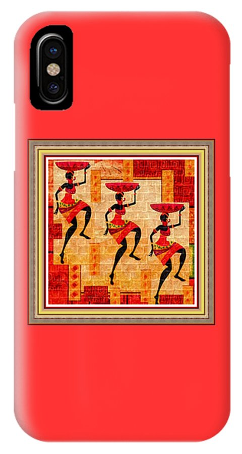 Tribal IPhone X Case featuring the painting Three Tribal Dancers L B With Decorative Ornate Printed Frame by Gert J Rheeders