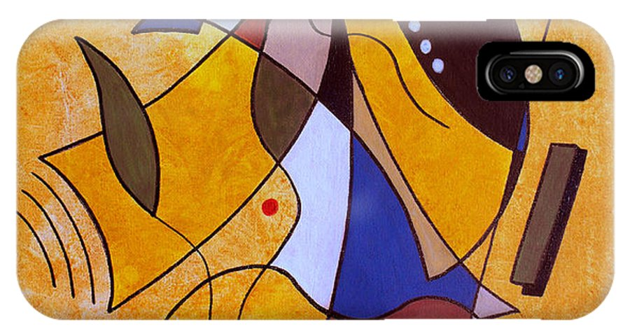 Abstract IPhone X Case featuring the painting Three White Petals by Ruth Palmer
