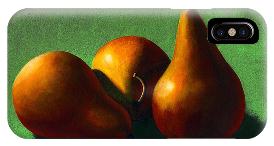 Still Life IPhone Case featuring the painting Three Yellow Pears by Frank Wilson