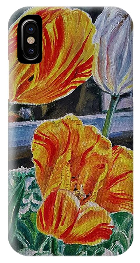 Tulips IPhone X Case featuring the painting Three's A Crowd by Manju Chau