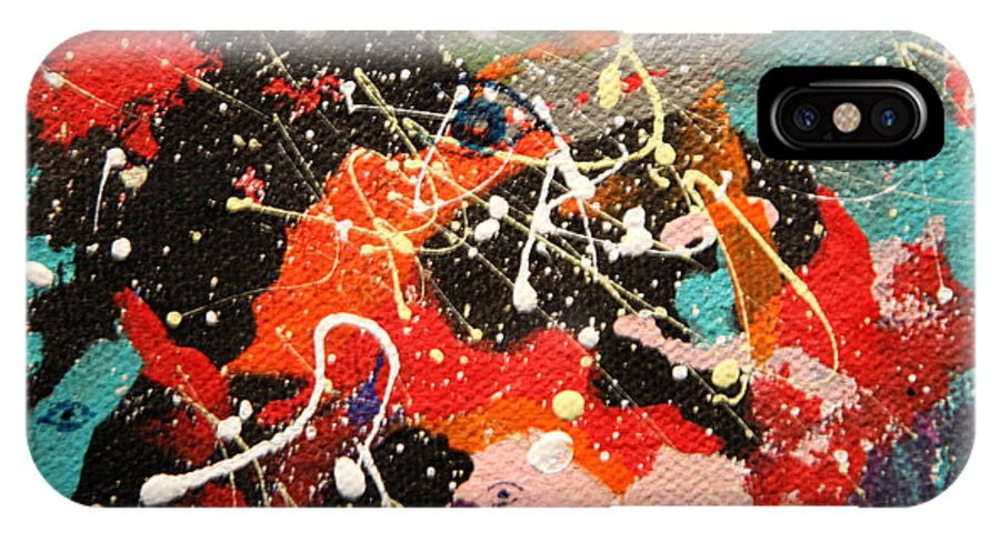 Abstract IPhone X Case featuring the mixed media Through The Eyes Of The Universe by J R Seymour