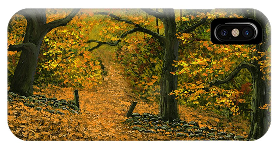 Landscape IPhone Case featuring the painting Through The Fallen Leaves by Frank Wilson