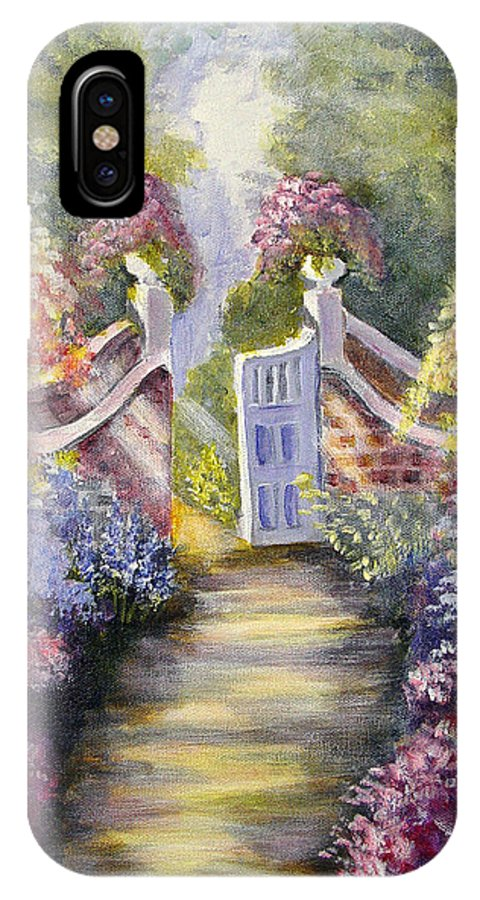 Flowers IPhone Case featuring the painting Through The Garden Gate by Quwatha Valentine