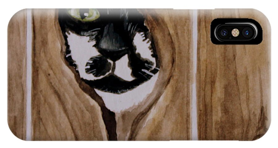 Cats IPhone X Case featuring the painting Through The Knothole by Elizabeth Robinette Tyndall