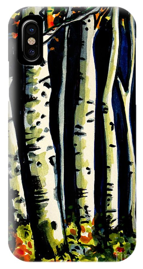 Trees IPhone X Case featuring the painting Through The Midnight Birch Trees by Elizabeth Robinette Tyndall