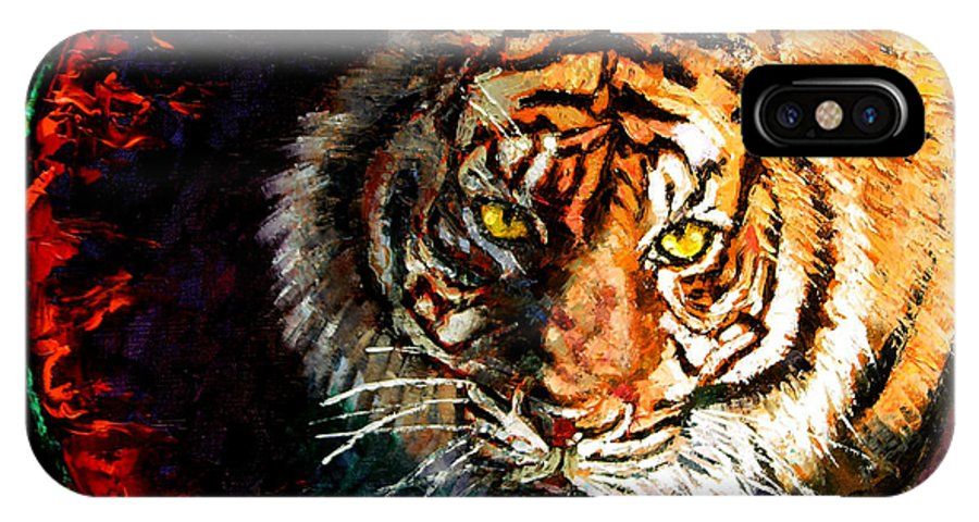 Tiger IPhone Case featuring the painting Through The Ring Of Fire by John Lautermilch