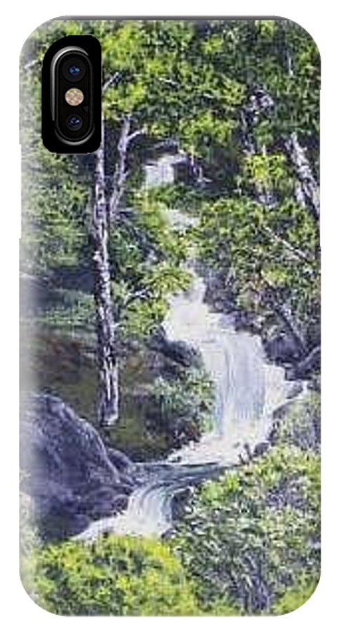 This Is A Lovely Waterfall We Saw On The Way Back Home From Mount Hood Oregon. IPhone X Case featuring the painting Through The Woods by Darla Boljat