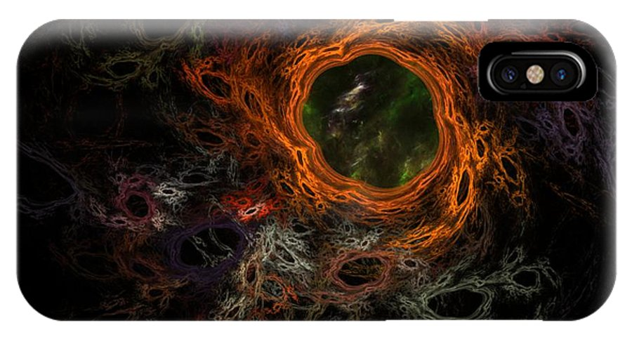 Fantasy IPhone X Case featuring the digital art Through The Worm Hole by David Lane