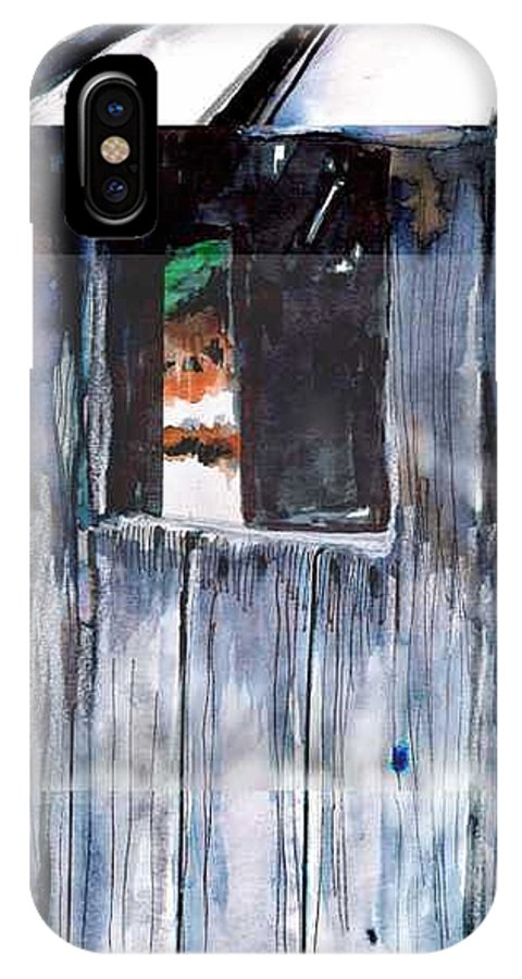 An Old Mysterious Barn With Deep Dark Shadows And Secrets. Rustic And Moody. IPhone X Case featuring the drawing Thru The Barn Window by Seth Weaver