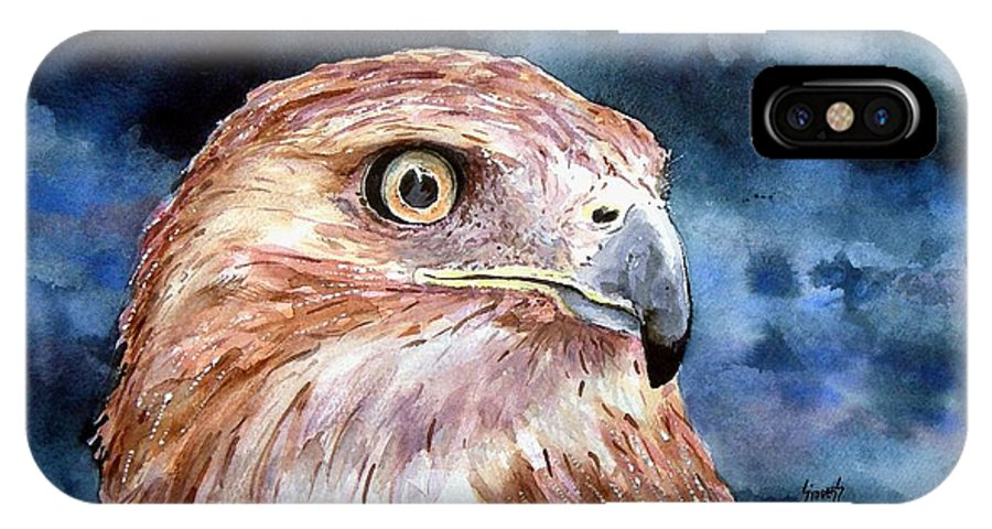 Bird IPhone X Case featuring the painting Thunder by Sam Sidders