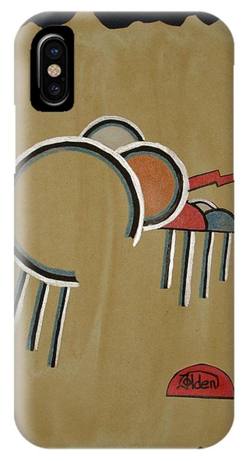 Design IPhone X Case featuring the mixed media Thunderbeings by Jo Hoden