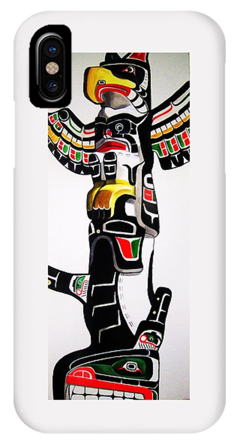 Totem IPhone X Case featuring the painting Thunderbird And Whale Totem by Lucy Deane