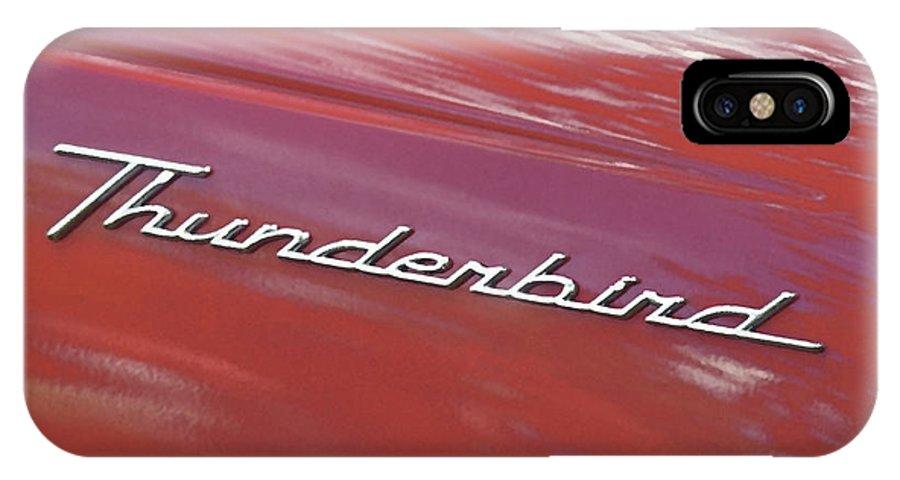 Thunderbird IPhone X Case featuring the photograph Thunderbird Car Nameplate by Gordon Wood
