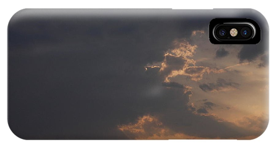 Storm Sky Connor Sipe Weather Thunder Lightning Thunderstorm Rain Wind Sun Sunset Light Dark Hill Forest Skies Landscape IPhone X Case featuring the photograph Thunderstorm And Sunset #2 by Connor Sipe