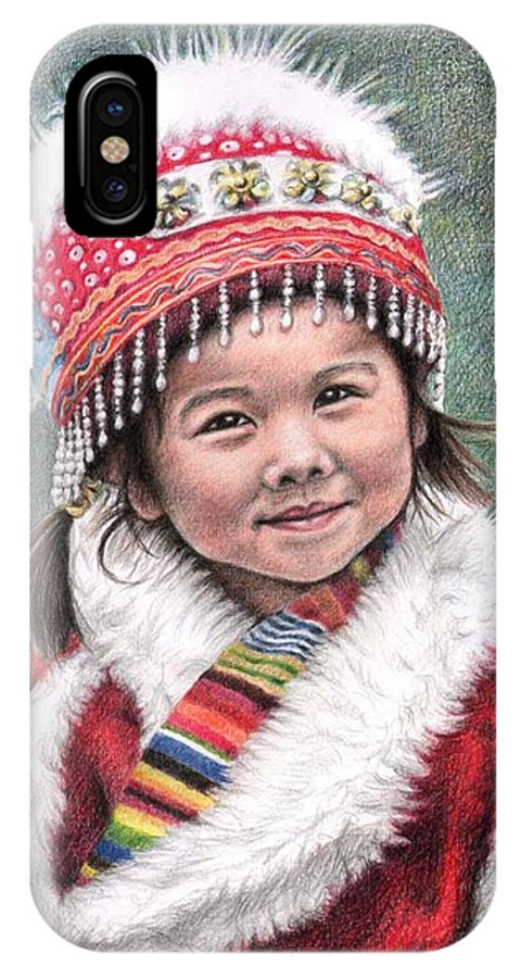 Girl IPhone X Case featuring the drawing Tibetan Girl by Nicole Zeug