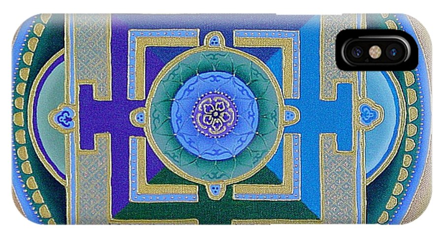 Mandala IPhone X Case featuring the painting Tibetan Rose by Charlotte Backman