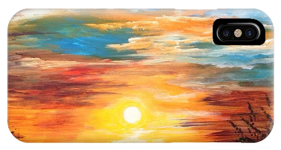 Marsh IPhone X Case featuring the painting Tide Marsh Sunset by Karen Ferrand Carroll