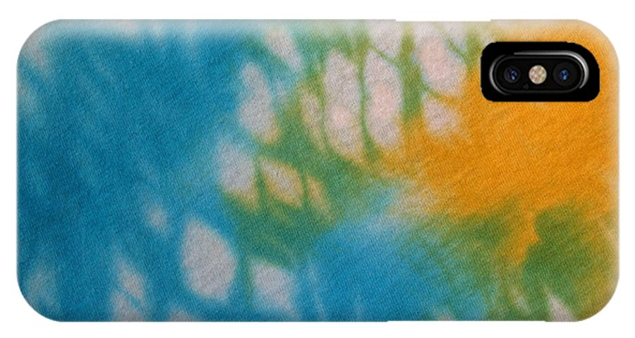 Tie-dye IPhone X Case featuring the photograph Tie Dye In Yellow Aqua And Green by Anna Lisa Yoder
