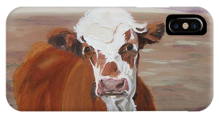 Cow Calf Farmscene IPhone X Case featuring the painting Tiffany by Paula Emery