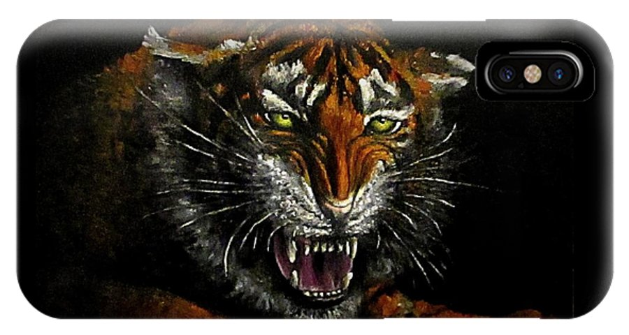 Animal IPhone X Case featuring the painting Tiger-1 original oil painting by Natalja Picugina