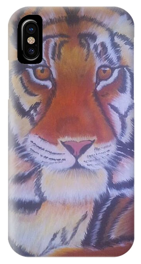 Tiger IPhone X / XS Case featuring the painting Tiger by Christine Daffie