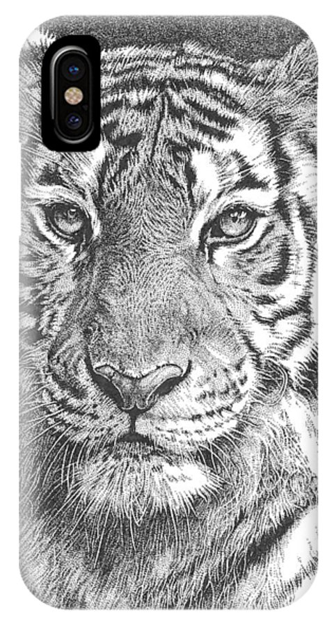Tiger IPhone X / XS Case featuring the drawing Tiger by Deven Singh Kshetrimayum