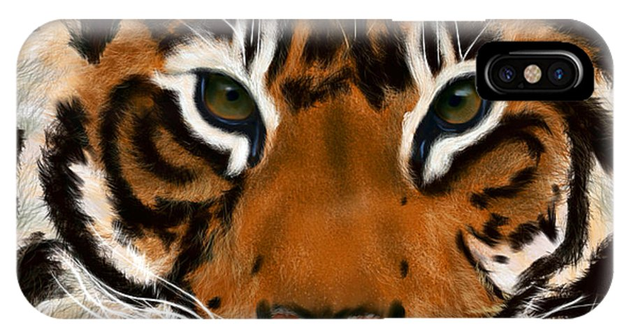 Tiger IPhone X / XS Case featuring the painting Tiger Eyes by Becky Herrera