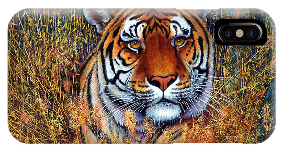 Tiger IPhone Case featuring the painting Tiger by Frank Wilson