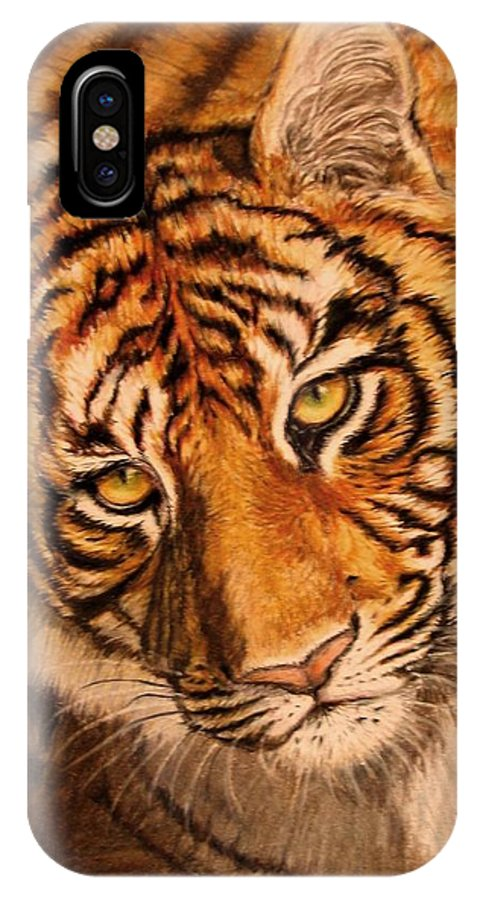 Tiger IPhone X Case featuring the drawing Tiger by Karen Ilari