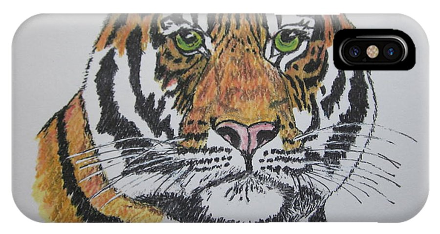 Bengal IPhone X / XS Case featuring the painting Tiger by Kathy Marrs Chandler