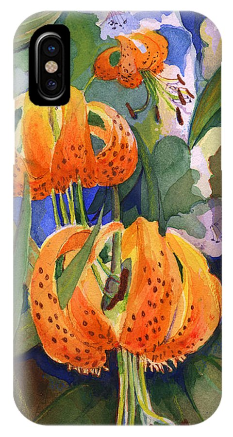 Flower IPhone X Case featuring the painting Tiger Lily Parachutes by Nancy Watson