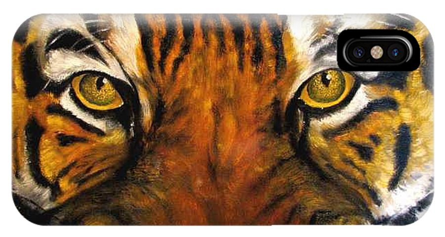 Tiger IPhone X Case featuring the painting Tiger Mask Original Oil Painting by Natalja Picugina