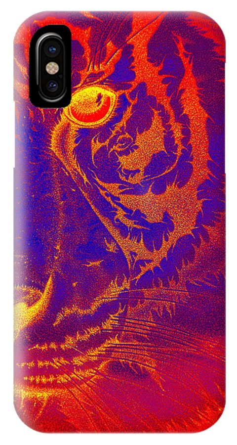 Tigers Digital Art IPhone X Case featuring the drawing Tiger On Fire by Mayhem Mediums