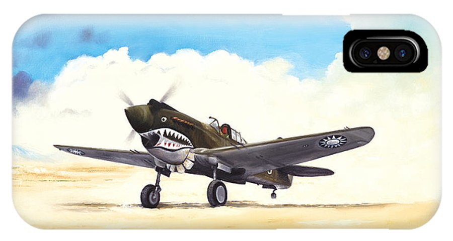 Aviation IPhone X Case featuring the painting Tiger Scramble by Marc Stewart
