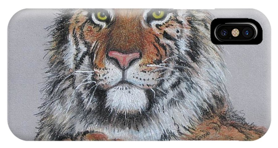 Tiger IPhone X Case featuring the painting Tiger by Tanja Ware