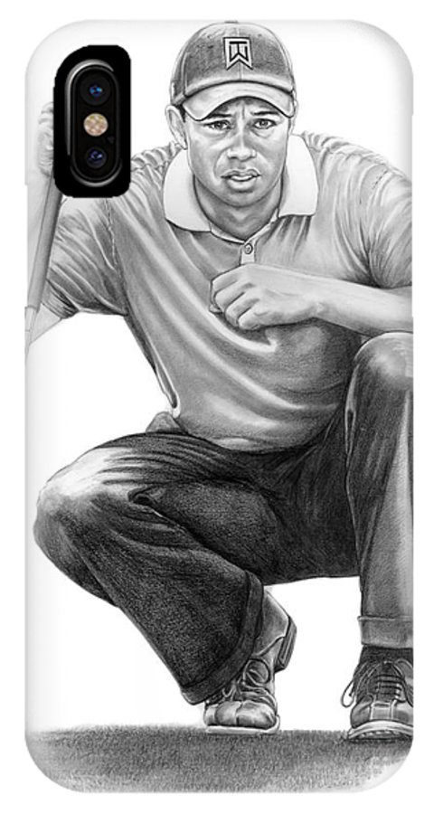 Pencil IPhone Case featuring the drawing Tiger Woods Crouching Tiger by Murphy Elliott